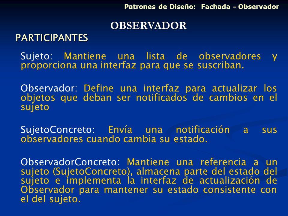 PARTICIPANTES Sujeto: Mantiene una lista de observadores y proporciona una interfaz para que se suscriban. Observador: Define una interfaz para actual