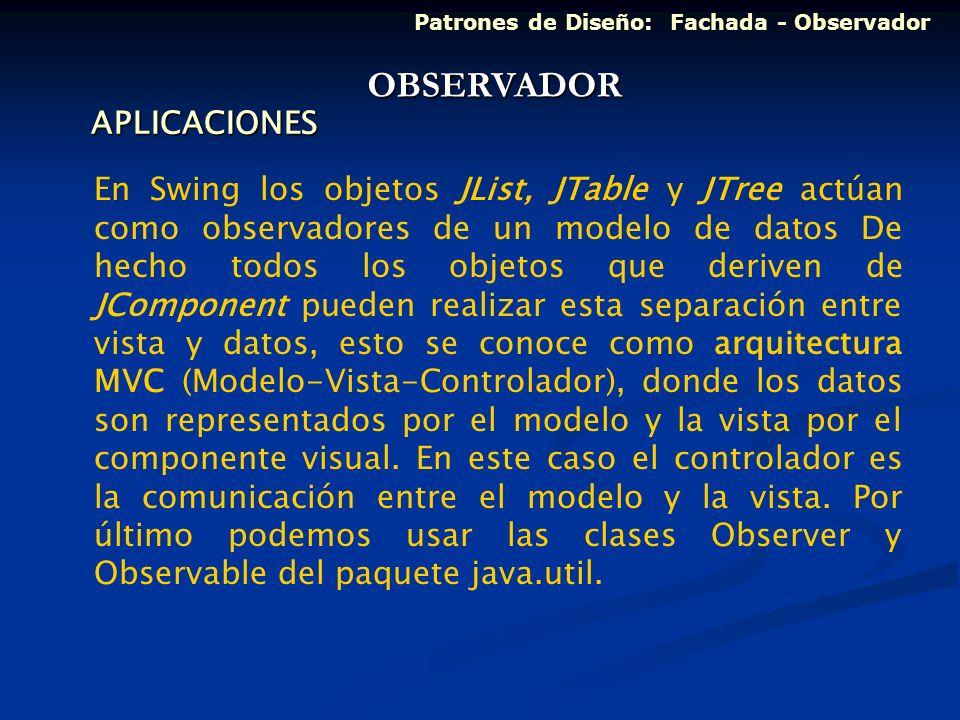 APLICACIONES En Swing los objetos JList, JTable y JTree actúan como observadores de un modelo de datos De hecho todos los objetos que deriven de JComp