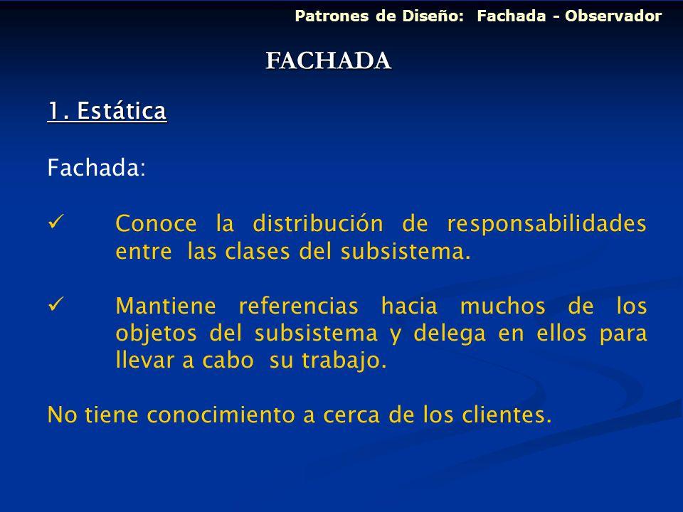 Patrones de Diseño: Fachada - Observador 1. Estática Fachada: Conoce la distribución de responsabilidades entre las clases del subsistema. Mantiene re