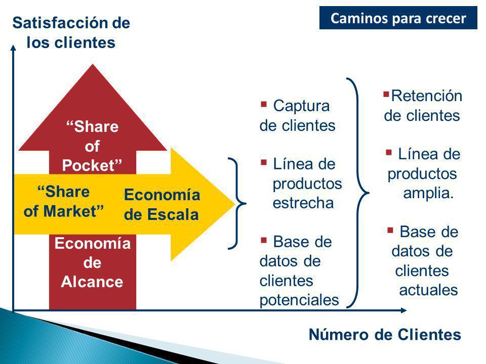 Captura de clientes Línea de productos estrecha Base de datos de clientes potenciales Retención de clientes Línea de productos amplia. Base de datos d