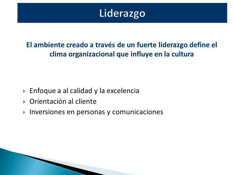 Enfoque a al calidad y la excelencia Orientación al cliente Inversiones en personas y comunicaciones El ambiente creado a través de un fuerte liderazg