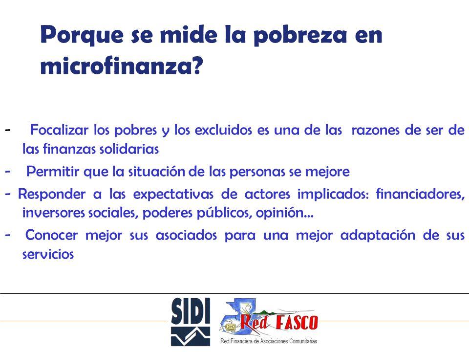SOLIDARITE INTERNATIONALE POUR LE DEVELOPPEMENT ET LINVESTISSEMENT 2 Porque se mide la pobreza en microfinanza.
