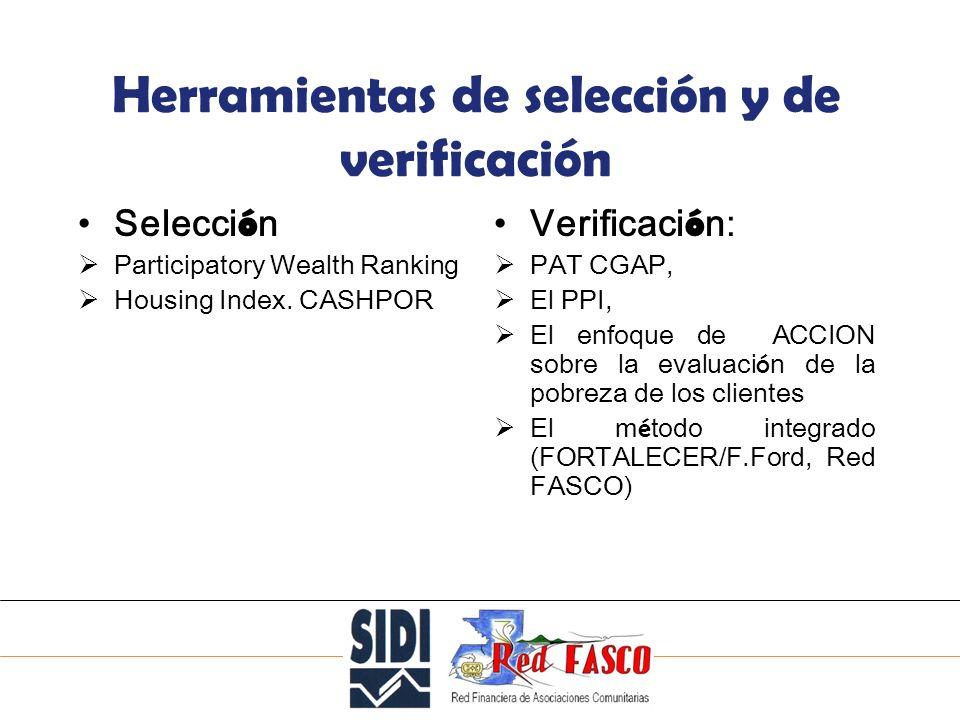 SOLIDARITE INTERNATIONALE POUR LE DEVELOPPEMENT ET LINVESTISSEMENT Herramientas de selección y de verificación Selecci ó n Participatory Wealth Ranking Housing Index.
