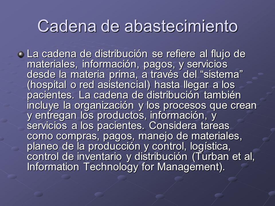 Cadena de abastecimiento La cadena de distribución se refiere al flujo de materiales, información, pagos, y servicios desde la materia prima, a través