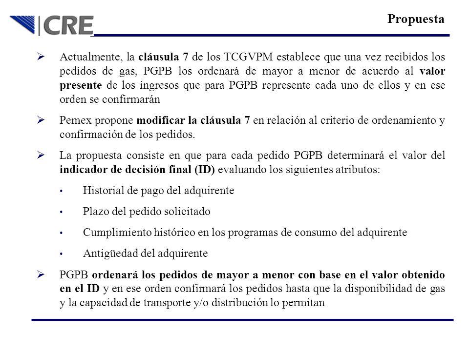 Actualmente, la cláusula 7 de los TCGVPM establece que una vez recibidos los pedidos de gas, PGPB los ordenará de mayor a menor de acuerdo al valor pr
