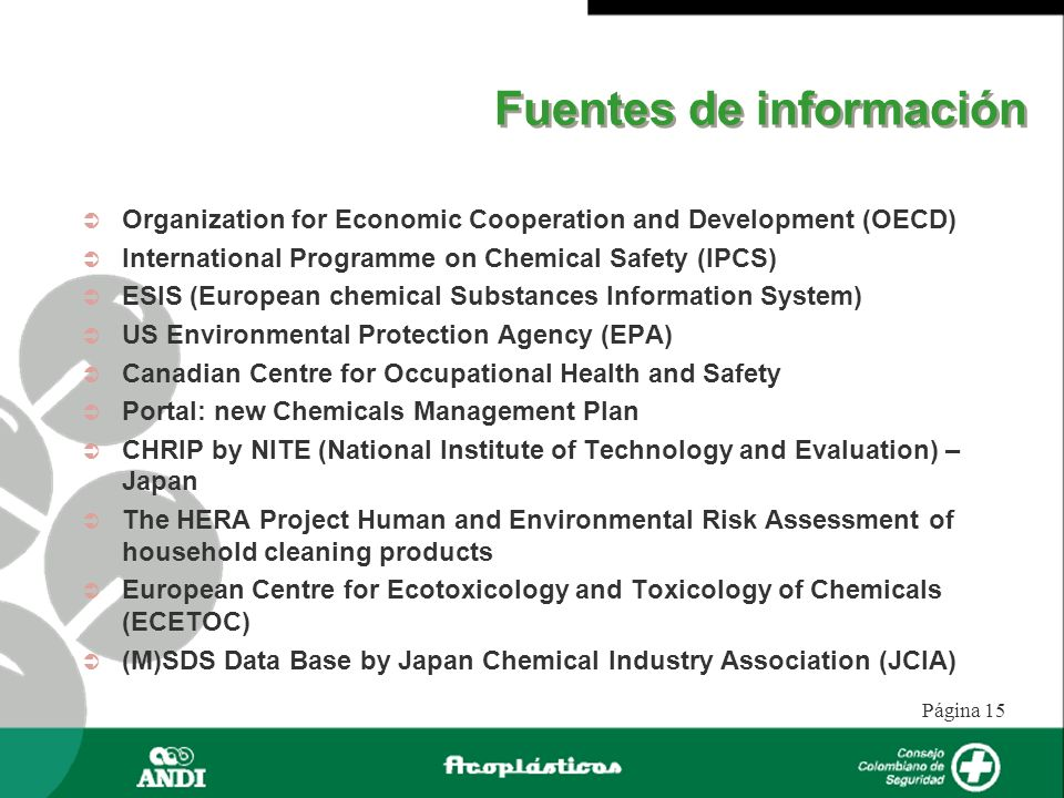 Página 16 Herramientas para la caracterización de riesgos OECD Chemicals Hazard / Risk Assessment http://www.oecd.org/about/0,2337,en_2649_34373_1_1_1_1_37 465,00.htmll http://www.oecd.org/about/0,2337,en_2649_34373_1_1_1_1_37 465,00.htmll ORATS (Online European Risk Assessment Tracking System): http://ecb.jrc.it/esis/index.php?PGM=ora http://ecb.jrc.it/esis/index.php?PGM=ora
