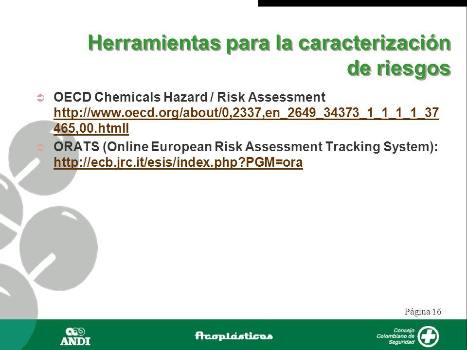 Página 16 Herramientas para la caracterización de riesgos OECD Chemicals Hazard / Risk Assessment http://www.oecd.org/about/0,2337,en_2649_34373_1_1_1