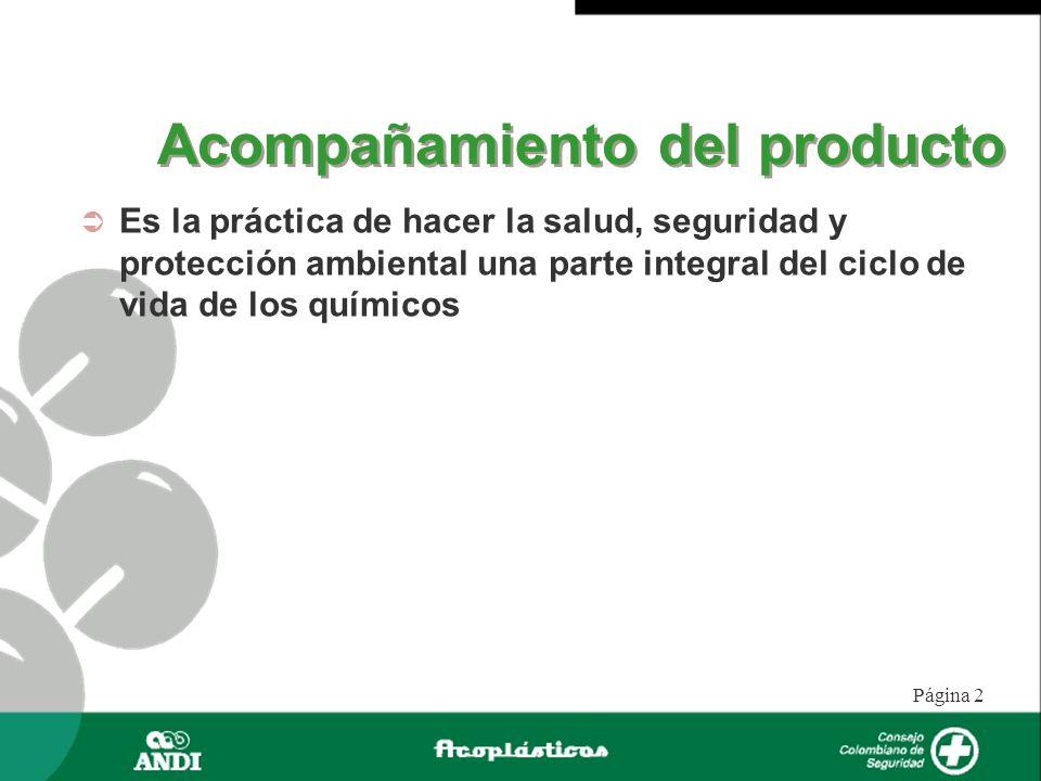 Página 2 Acompañamiento del producto Es la práctica de hacer la salud, seguridad y protección ambiental una parte integral del ciclo de vida de los qu