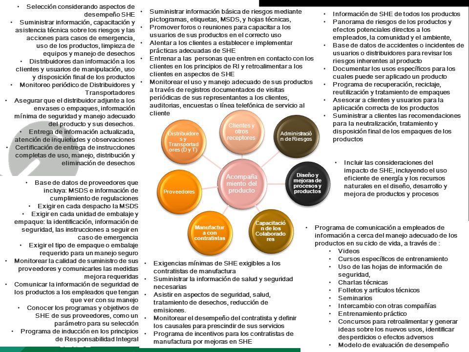 Página 4 Acompaña miento del producto Diseño y mejoras de procesos y productos Administració n de Riesgos Capacitació n de los Colaborado res Manufact