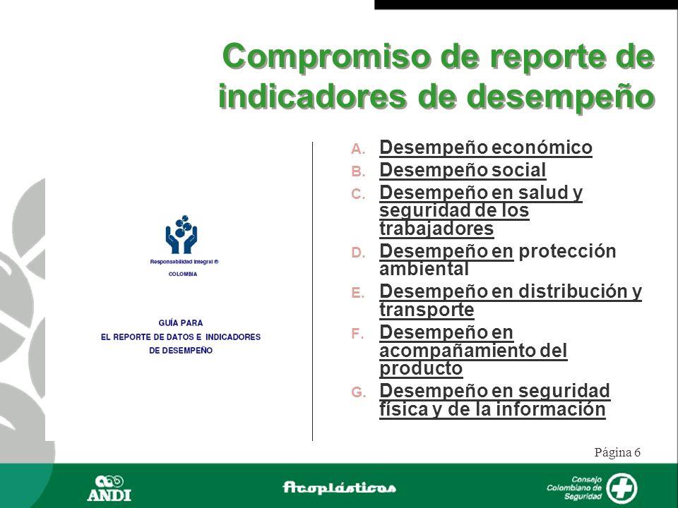 Página 6 Compromiso de reporte de indicadores de desempeño Desempeño económico Desempeño social Desempeño en salud y seguridad de los trabajadores Des