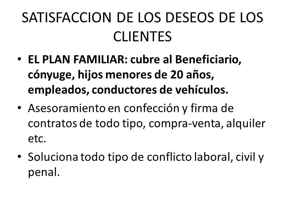 SATISFACCION DE LOS DESEOS DE LOS CLIENTES EL PLAN FAMILIAR: cubre al Beneficiario, cónyuge, hijos menores de 20 años, empleados, conductores de vehíc