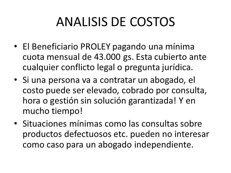 ANALISIS DE COSTOS El Beneficiario PROLEY pagando una mínima cuota mensual de 43.000 gs. Esta cubierto ante cualquier conflicto legal o pregunta juríd