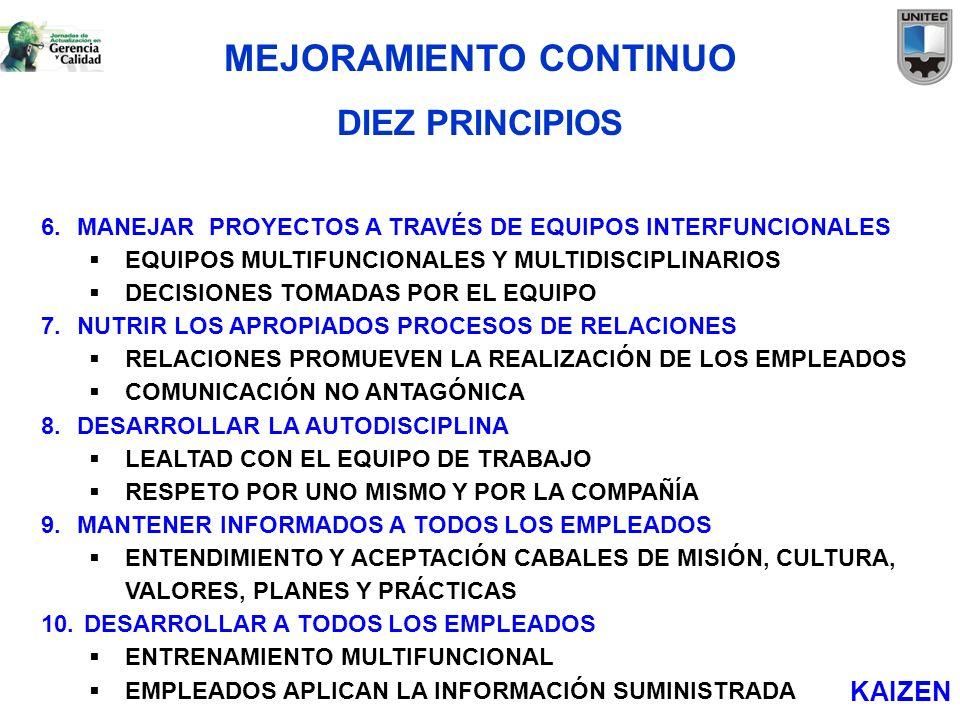 6.MANEJAR PROYECTOS A TRAVÉS DE EQUIPOS INTERFUNCIONALES EQUIPOS MULTIFUNCIONALES Y MULTIDISCIPLINARIOS DECISIONES TOMADAS POR EL EQUIPO 7.NUTRIR LOS