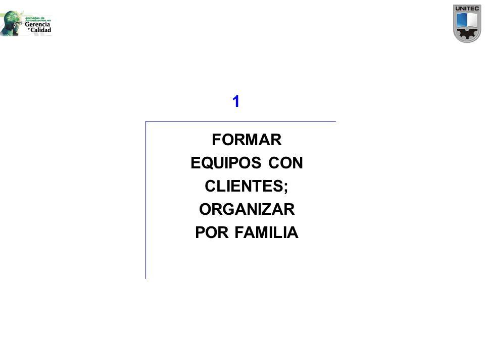 FORMAR EQUIPOS CON CLIENTES; ORGANIZAR POR FAMILIA 1