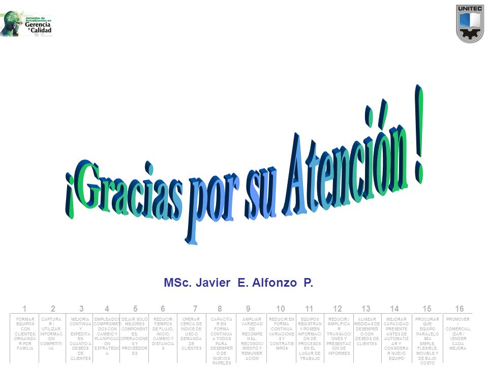 MSc. Javier E. Alfonzo P. PROMOVER / COMERCIAL IZAR / VENDER CADA MEJORA FORMAR EQUIPOS CON CLIENTES; ORGANIZA R POR FAMILIA CAPTURA R / UTILIZAR INFO