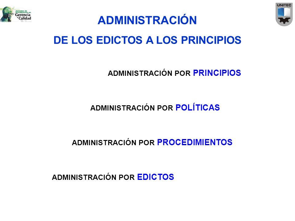 ADMINISTRACIÓN DE LOS EDICTOS A LOS PRINCIPIOS ADMINISTRACIÓN POR EDICTOS ADMINISTRACIÓN POR PROCEDIMIENTOS ADMINISTRACIÓN POR POLÍTICAS ADMINISTRACIÓ