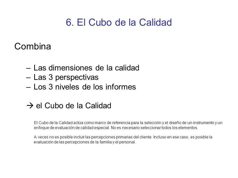 6. El Cubo de la Calidad Combina –Las dimensiones de la calidad –Las 3 perspectivas –Los 3 niveles de los informes el Cubo de la Calidad El Cubo de la