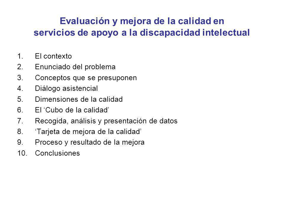Evaluación y mejora de la calidad en servicios de apoyo a la discapacidad intelectual 1.El contexto 2.Enunciado del problema 3.Conceptos que se presup