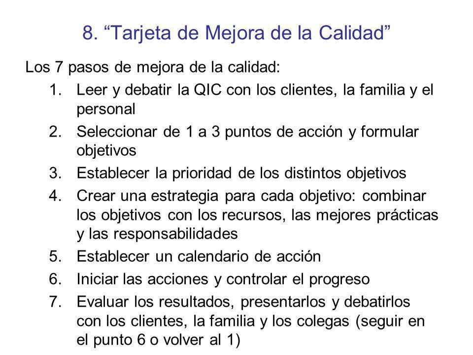8. Tarjeta de Mejora de la Calidad Los 7 pasos de mejora de la calidad: 1.Leer y debatir la QIC con los clientes, la familia y el personal 2.Seleccion