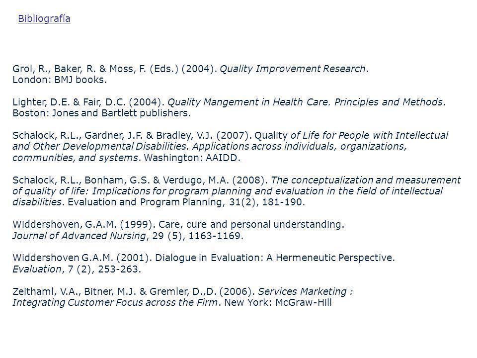 Grol, R., Baker, R. & Moss, F. (Eds.) (2004). Quality Improvement Research. London: BMJ books. Lighter, D.E. & Fair, D.C. (2004). Quality Mangement in