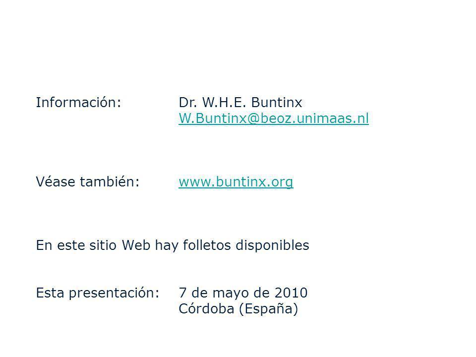 Información: Dr. W.H.E. Buntinx W.Buntinx@beoz.unimaas.nl Véase también:www.buntinx.orgwww.buntinx.org En este sitio Web hay folletos disponibles Esta