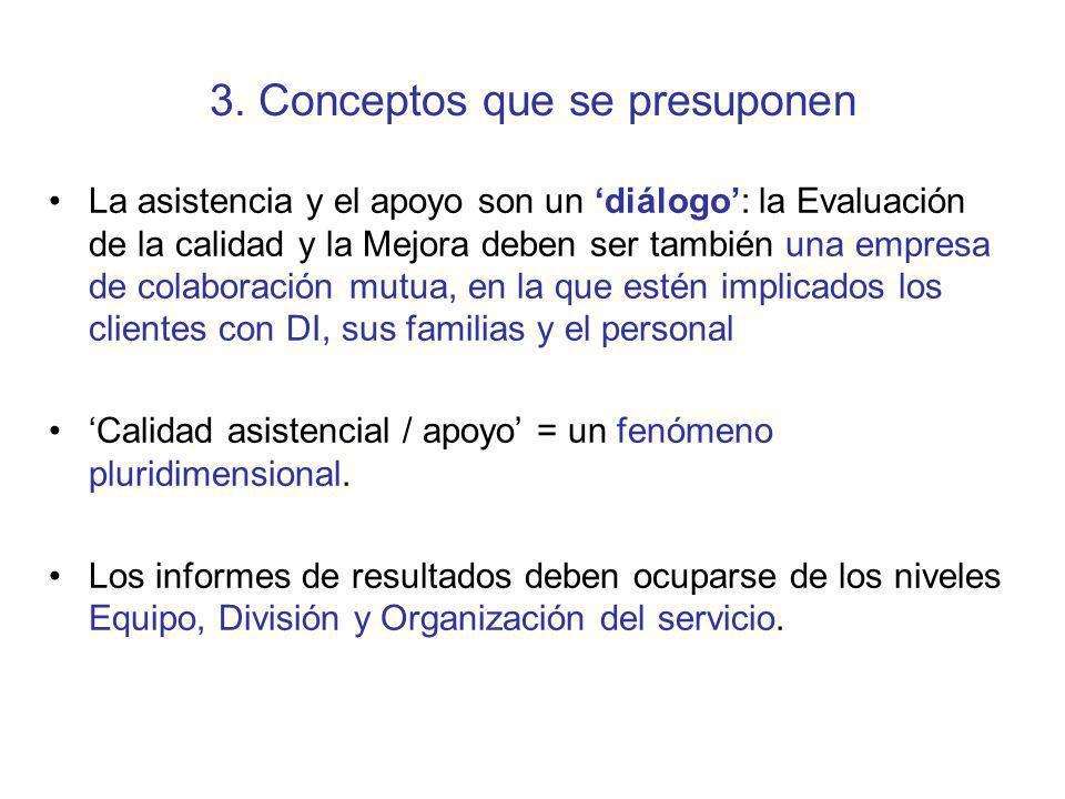 3. Conceptos que se presuponen La asistencia y el apoyo son un diálogo: la Evaluación de la calidad y la Mejora deben ser también una empresa de colab