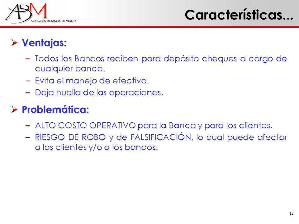 13 Características... Ventajas: Ventajas: –Todos los Bancos reciben para depósito cheques a cargo de cualquier banco. –Evita el manejo de efectivo. –D
