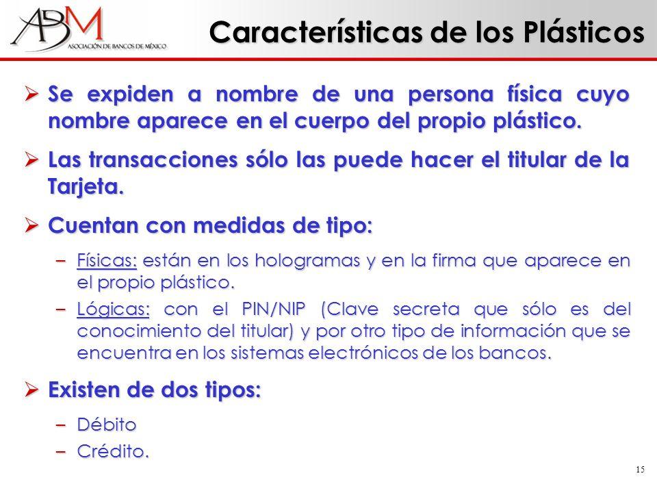 15 Características de los Plásticos Se expiden a nombre de una persona física cuyo nombre aparece en el cuerpo del propio plástico. Se expiden a nombr