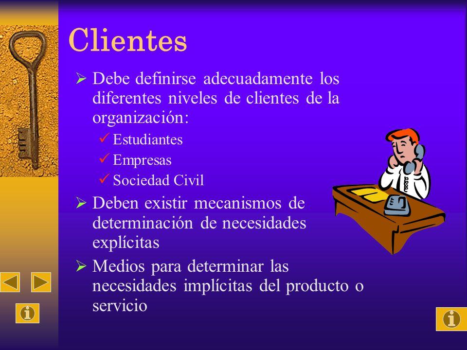 Clientes Debe definirse adecuadamente los diferentes niveles de clientes de la organización: Estudiantes Empresas Sociedad Civil Deben existir mecanis