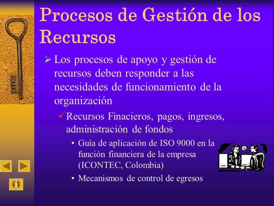 Procesos de Gestión de los Recursos Los procesos de apoyo y gestión de recursos deben responder a las necesidades de funcionamiento de la organización