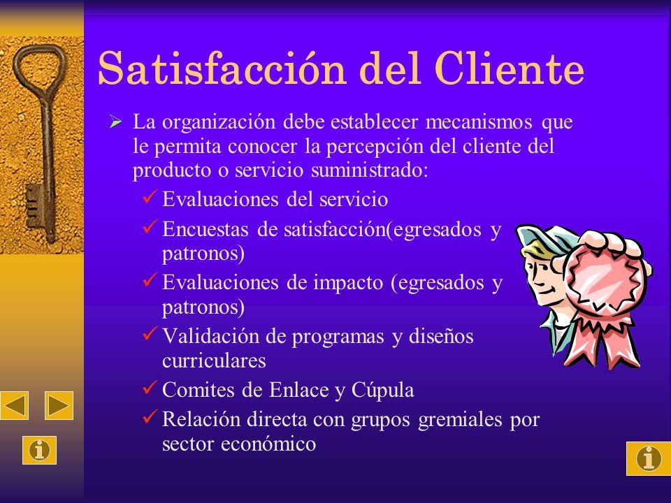 Satisfacción del Cliente La organización debe establecer mecanismos que le permita conocer la percepción del cliente del producto o servicio suministr