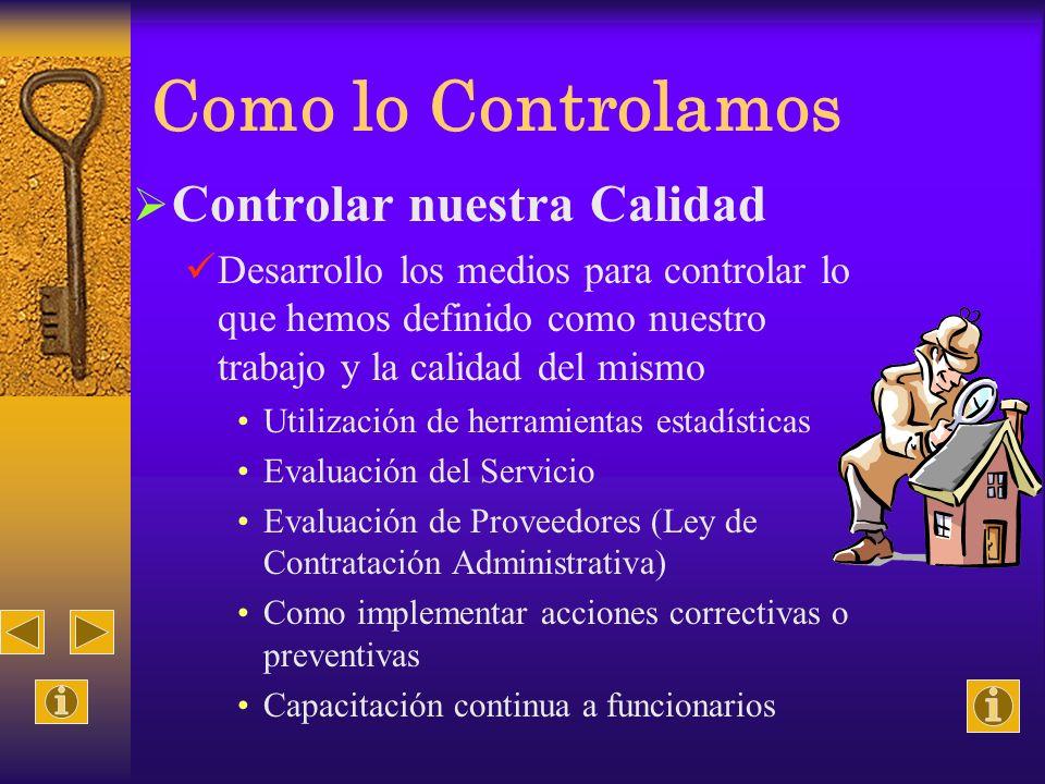 Como lo Controlamos Controlar nuestra Calidad Desarrollo los medios para controlar lo que hemos definido como nuestro trabajo y la calidad del mismo U