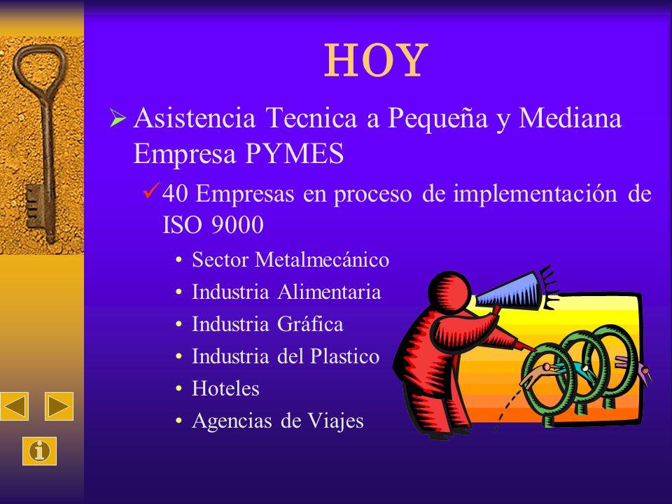 HOY Asistencia Tecnica a Pequeña y Mediana Empresa PYMES 40 Empresas en proceso de implementación de ISO 9000 Sector Metalmecánico Industria Alimentar