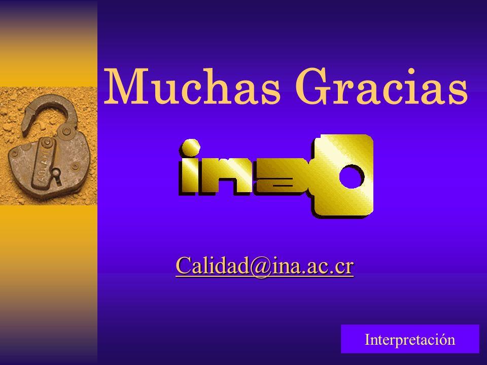 Muchas Gracias InterpretaciónCalidad@ina.ac.cr