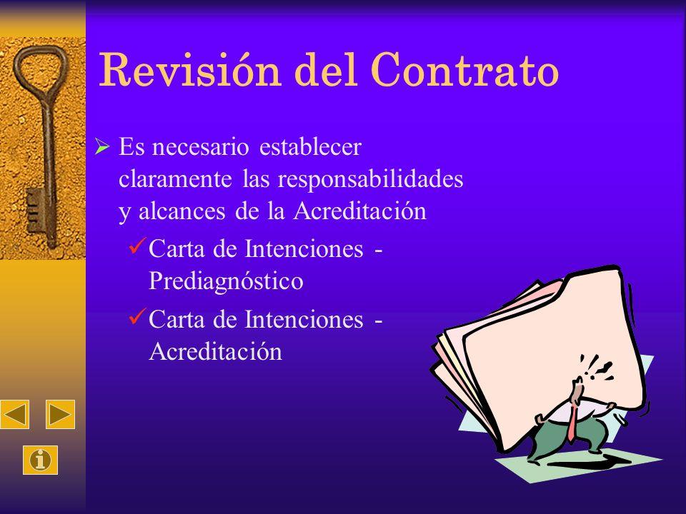 Revisión del Contrato Es necesario establecer claramente las responsabilidades y alcances de la Acreditación Carta de Intenciones - Prediagnóstico Car
