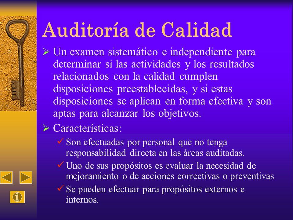 Auditoría de Calidad Un examen sistemático e independiente para determinar si las actividades y los resultados relacionados con la calidad cumplen dis