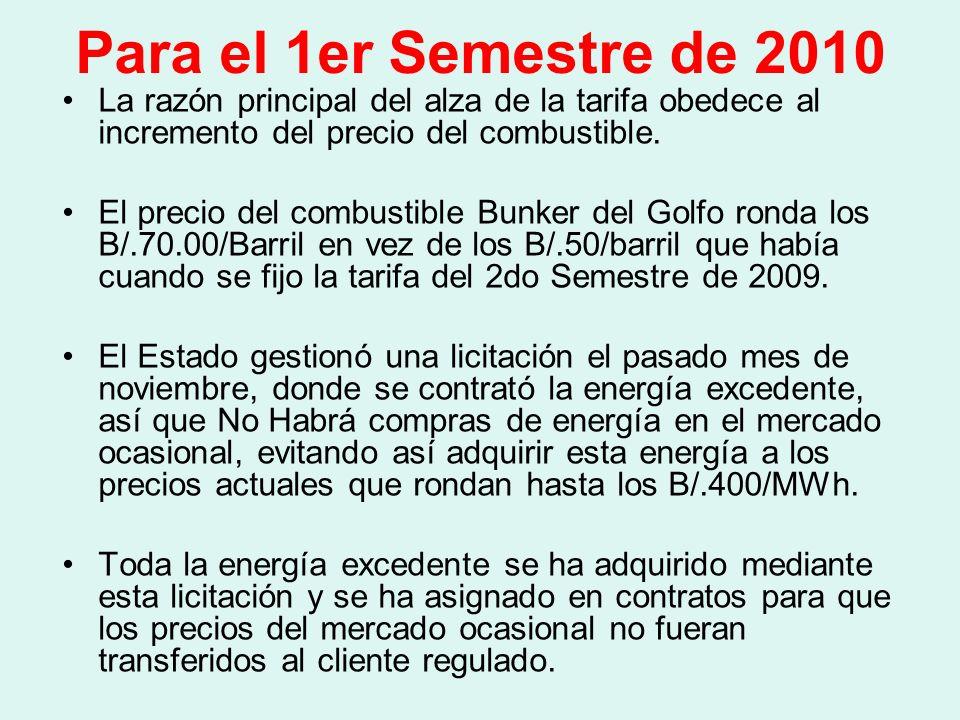 Para el 1er Semestre de 2010 Actualmente el Gobierno Nacional está negociando un seguro de combustible para el año 2010, a fin de estabilizar el precio que actualmente ronda los B/.