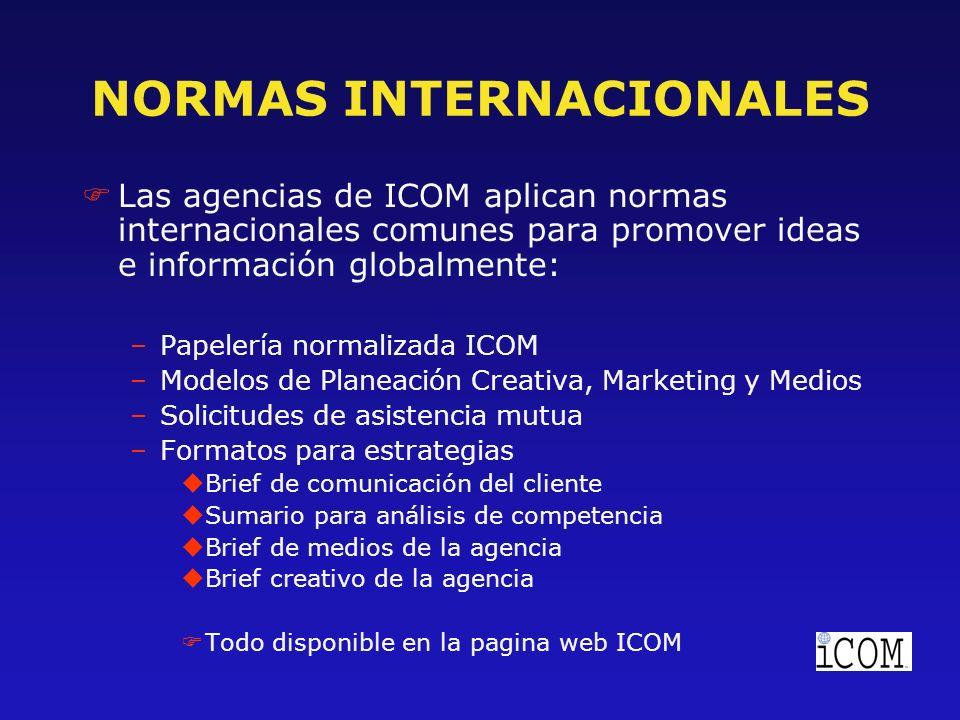 NORMAS INTERNACIONALES FLas agencias de ICOM aplican normas internacionales comunes para promover ideas e información globalmente: –Papelería normalizada ICOM –Modelos de Planeación Creativa, Marketing y Medios –Solicitudes de asistencia mutua –Formatos para estrategias uBrief de comunicación del cliente uSumario para análisis de competencia uBrief de medios de la agencia uBrief creativo de la agencia FTodo disponible en la pagina web ICOM