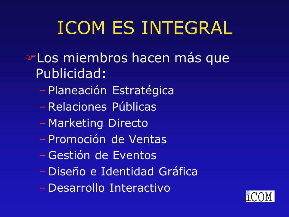 ICOM ES INTEGRAL FLos miembros hacen más que Publicidad: –Planeación Estratégica –Relaciones Públicas –Marketing Directo –Promoción de Ventas –Gestión de Eventos –Diseño e Identidad Gráfica –Desarrollo Interactivo