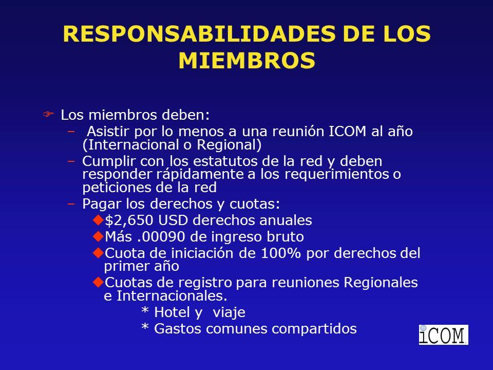 RESPONSABILIDADES DE LOS MIEMBROS FLos miembros deben: – Asistir por lo menos a una reunión ICOM al año (Internacional o Regional) –Cumplir con los estatutos de la red y deben responder rápidamente a los requerimientos o peticiones de la red –Pagar los derechos y cuotas: u$2,650 USD derechos anuales uMás.00090 de ingreso bruto uCuota de iniciación de 100% por derechos del primer año uCuotas de registro para reuniones Regionales e Internacionales.