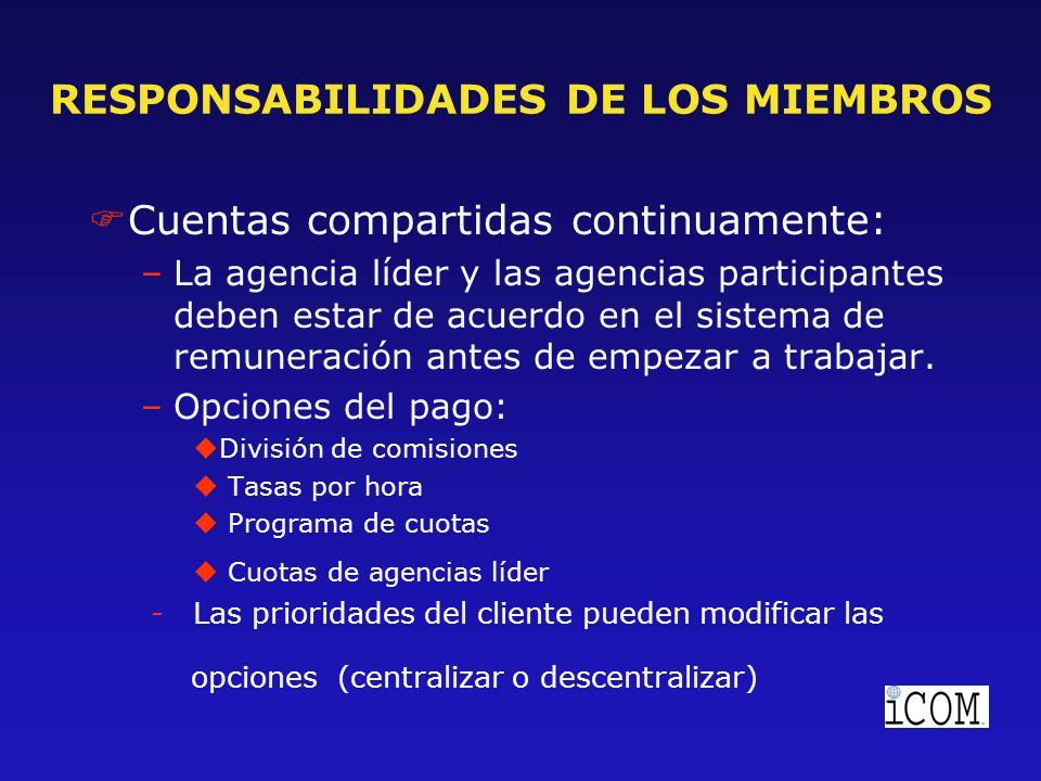 RESPONSABILIDADES DE LOS MIEMBROS FCuentas compartidas continuamente: –La agencia líder y las agencias participantes deben estar de acuerdo en el sistema de remuneración antes de empezar a trabajar.