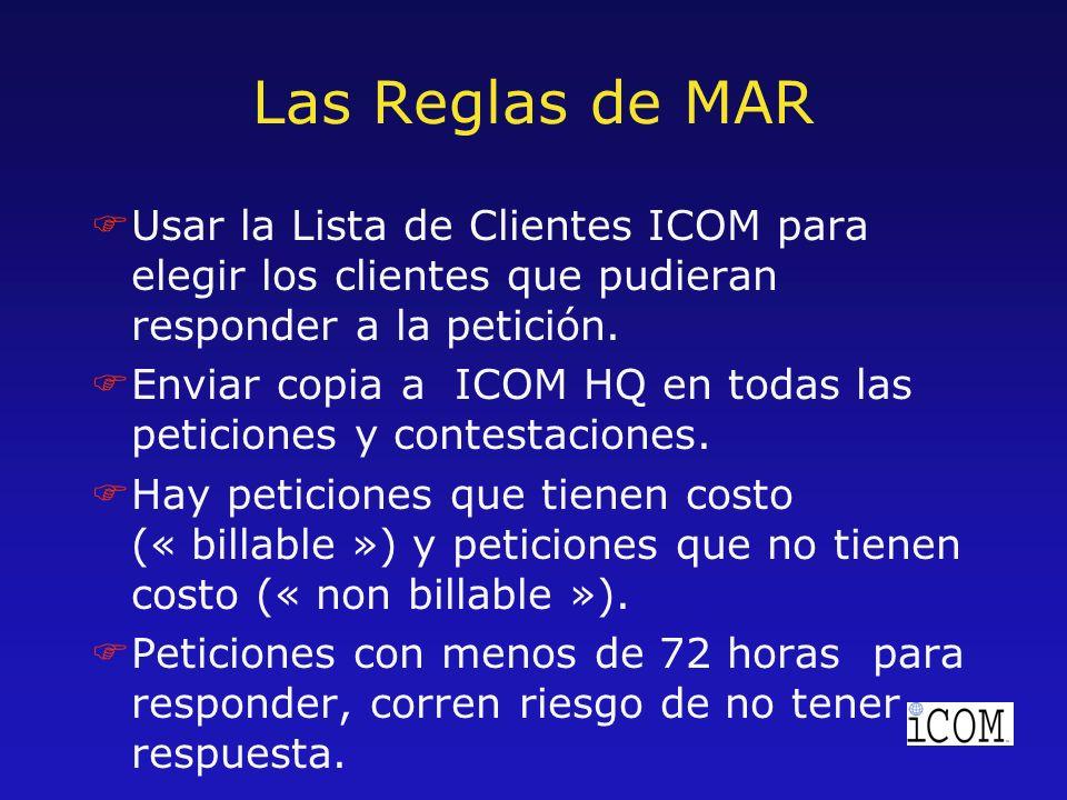 Las Reglas de MAR FUsar la Lista de Clientes ICOM para elegir los clientes que pudieran responder a la petición.