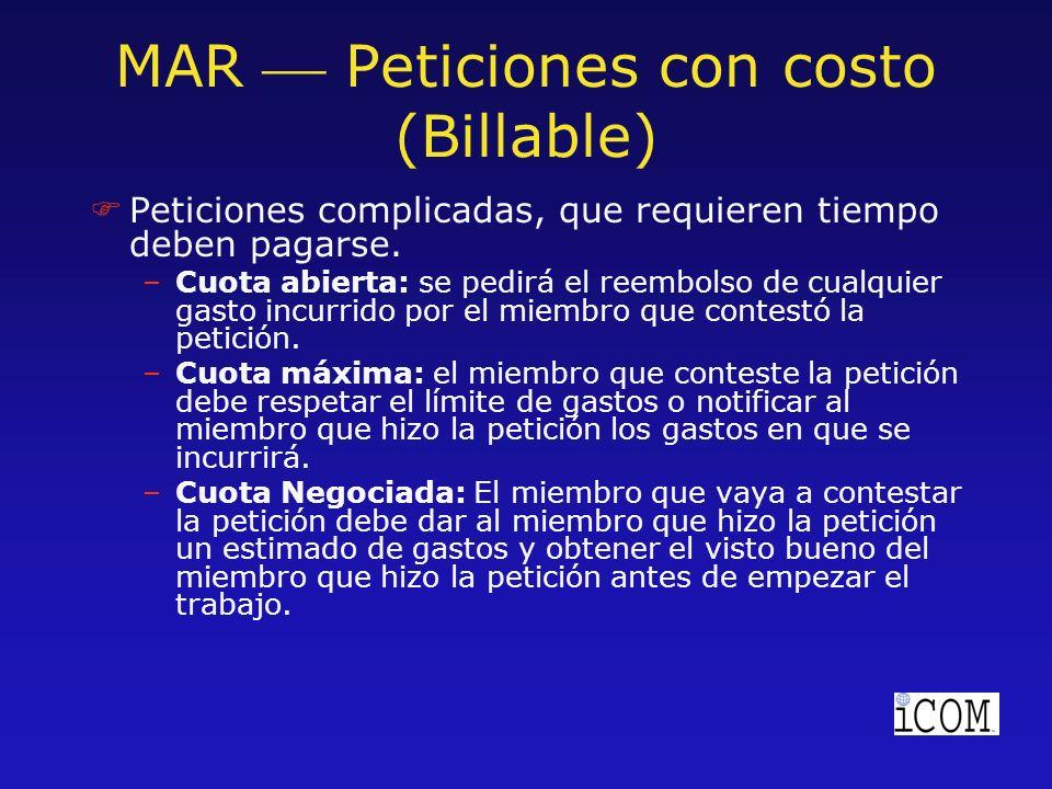 MAR Peticiones con costo (Billable) FPeticiones complicadas, que requieren tiempo deben pagarse.