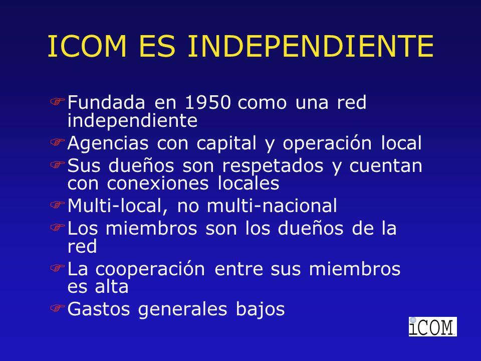 ICOM ES INDEPENDIENTE FFundada en 1950 como una red independiente FAgencias con capital y operación local FSus dueños son respetados y cuentan con conexiones locales FMulti-local, no multi-nacional FLos miembros son los dueños de la red FLa cooperación entre sus miembros es alta FGastos generales bajos