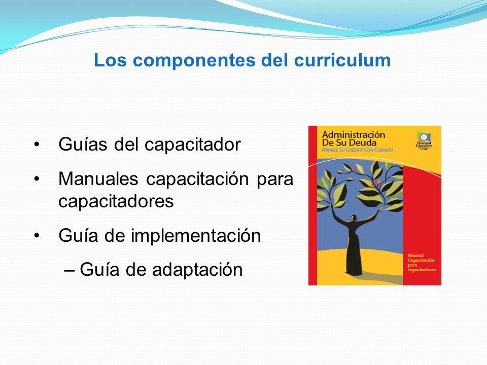 Los componentes del curriculum Guías del capacitador Manuales capacitación para capacitadores Guía de implementación –Guía de adaptación