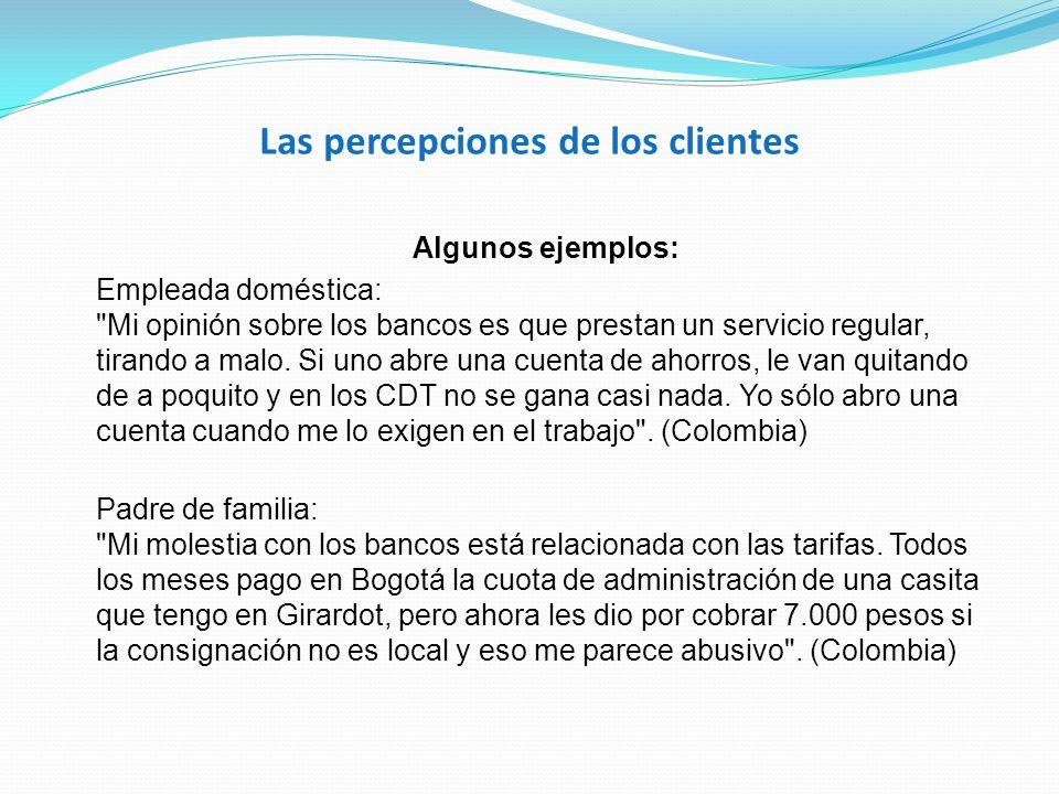 Las percepciones de los clientes Algunos ejemplos: Empleada doméstica: