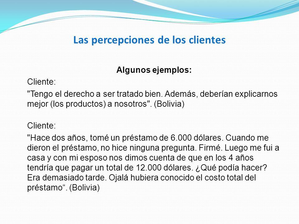 Las percepciones de los clientes Algunos ejemplos: Cliente: