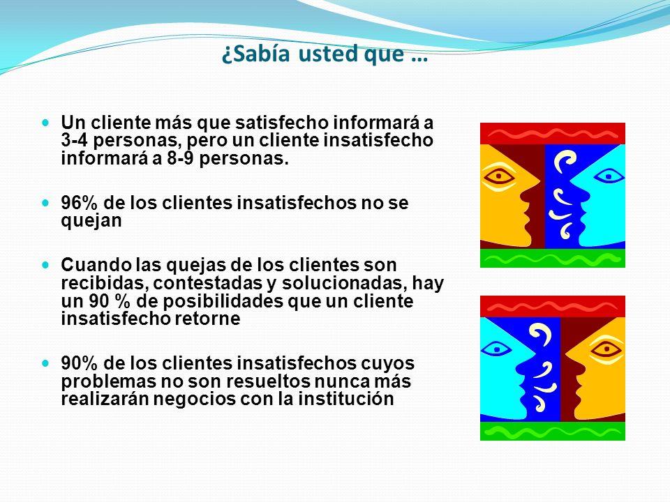 ¿Sabía usted que … Un cliente más que satisfecho informará a 3-4 personas, pero un cliente insatisfecho informará a 8-9 personas. 96% de los clientes