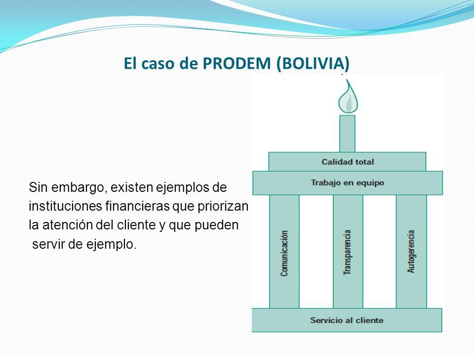 El caso de PRODEM (BOLIVIA) Sin embargo, existen ejemplos de instituciones financieras que priorizan la atención del cliente y que pueden servir de ej