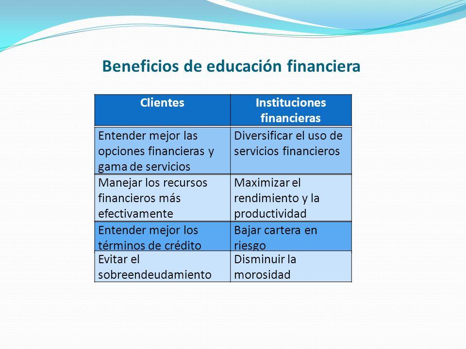 Beneficios de educación financiera ClientesInstituciones financieras Entender mejor las opciones financieras y gama de servicios Diversificar el uso d